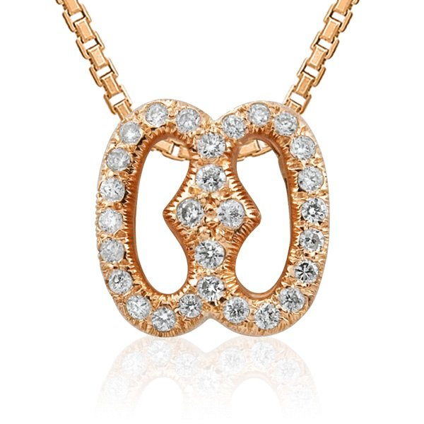 0.18Cts Brilliant Diamond Lucky Charm Pendant In 9K Rose