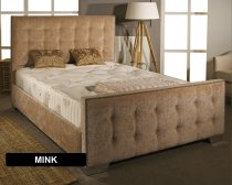 Brown Aspire Delaware Bedframe in Chenille Fabric with Headboard