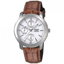 Casio Men's Core MTP1192E-7A Brown Leather Quartz Watch with White Dial