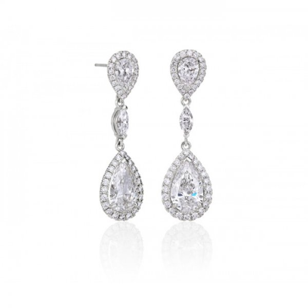 Diamond Edwardian Style Drop Earrings