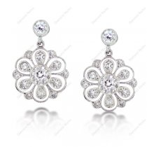 Diamond Flower Cluster Drop Earrings in 18K White Gold