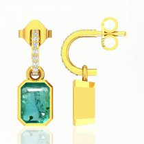Emerald Octagon 0.67Cts Brilliant Diamond Cluster Pendant In 18K White & Yellow Gold