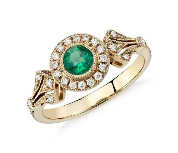 Emerald Round & 0.19Ct Round Brilliant Diamond Half Eternity Ring In 18K Yellow Gold