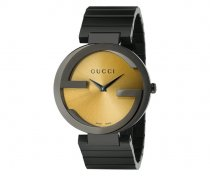 Gucci Men's YA133202 'Grammy XL Interlocking' Yellow Dial Black Leather Strap
