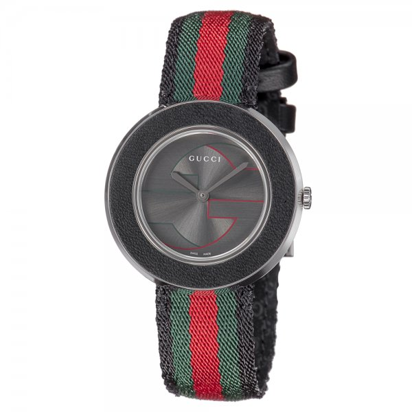 Gucci Women's YA129444 Gucci U Play Collection Stainless Steel Watch with Striped Nylon Band