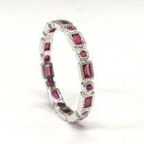 Ruby Round With 0.22Ct Round Brilliant Diamond Half Eternity Ring In 18K Yellow Gold