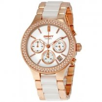 DKNY Women's NY8183 Gold Stainless Steel Quartz Watch with White zusä