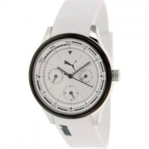 Puma Women's Motor White Polyurethane Quartz Watch with Black Dial