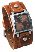 Nemesis Herren braun breit Leder Manschette Band Analog Brown Dial Watch